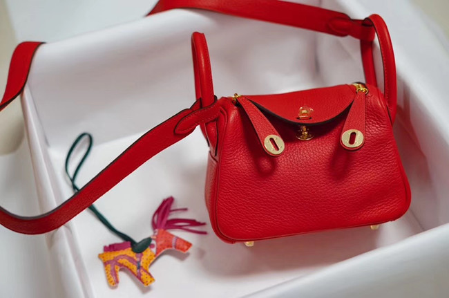 Hermes mini Lindy Togo Leather Bag LD19 red&gold-Tone Metal