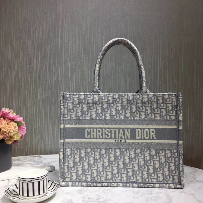 DIOR BOOK TOTE BAG IN EMBROIDERED CANVAS C1286-3 grey