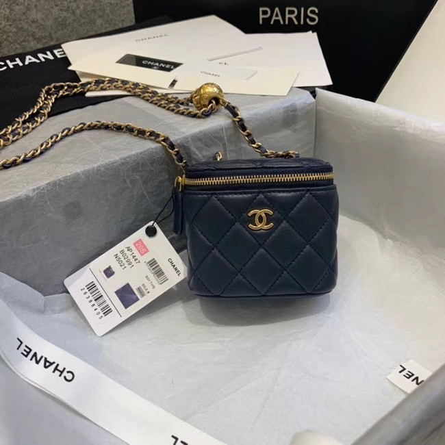 Chanel Original Small classic chain box handbag AP1447 dark blue
