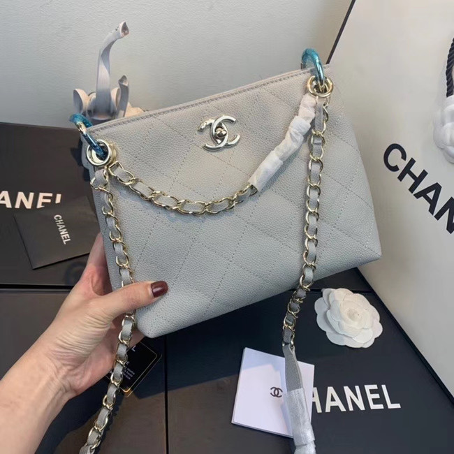 Chanel Small Calfskin hobo bag AS1461 grey