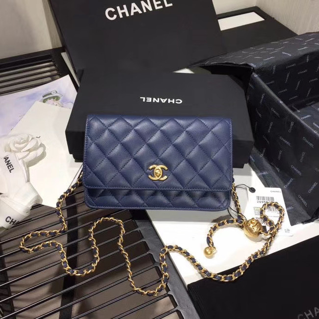 Chanel Original Small classic Sheepskin flap bag AS33814 blue