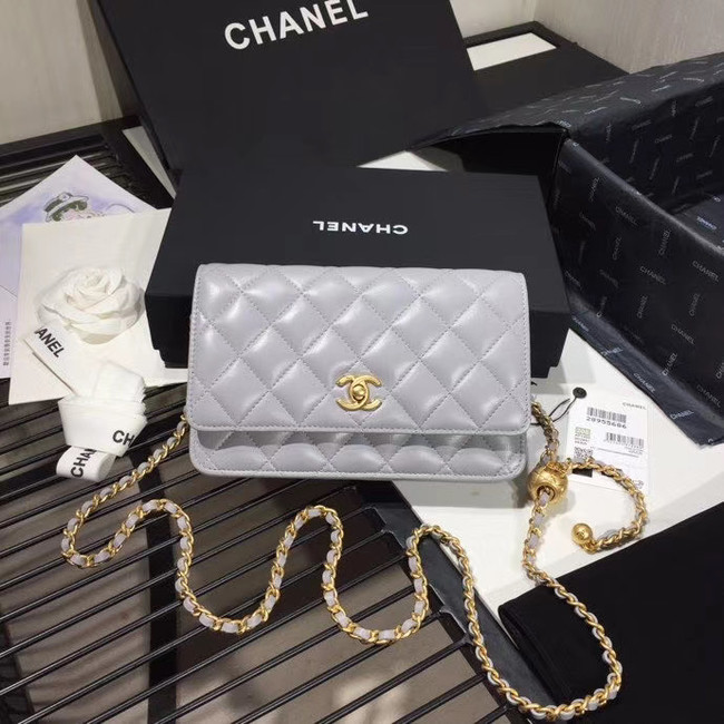 Chanel Original Small classic Sheepskin flap bag AS33814 light grey