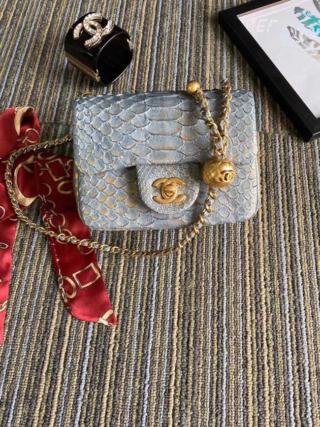 Chanel Original Small Snake skin flap bag AS1115 grey