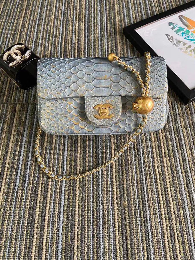 Chanel Original Small Snake skin flap bag AS1116 grey