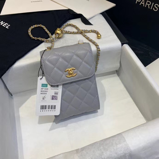 Chanel Original Small classic Sheepskin Shoulder Bag AP1448 grey