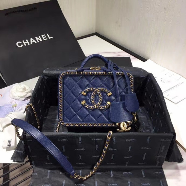 Chanel Original Small Sheepskin cosmetic bag AS1785 NAVY BLUE