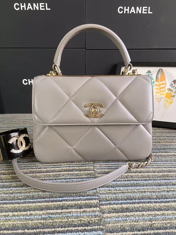 Chanel CC original lambskin top handle flap bag A92236 grey&Gold-Tone Metal