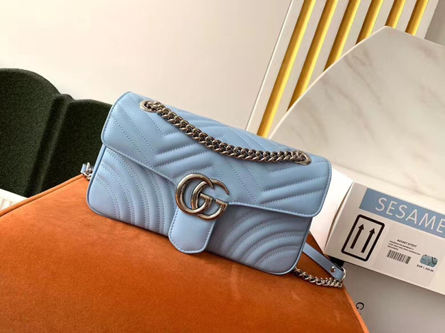 Gucci GG Marmont small shoulder bag 443497 Pastel blue