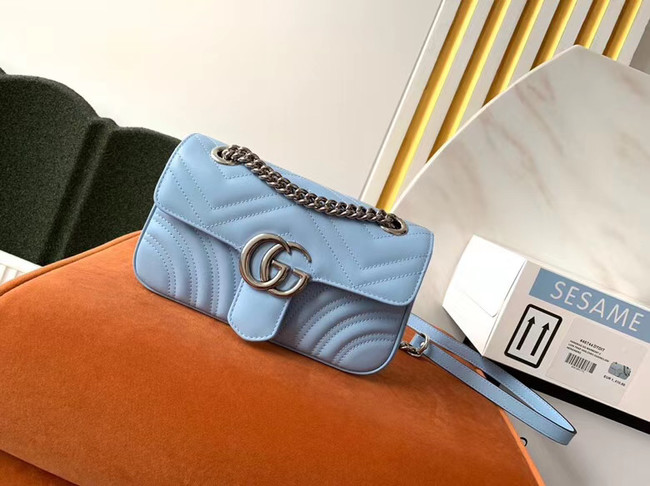 Gucci GG Marmont small shoulder bag 446744 Pastel blue