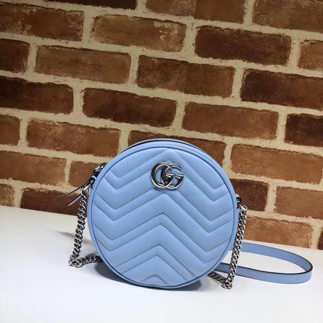 Gucci GG Marmont mini round shoulder bag 550154 Pastel blue