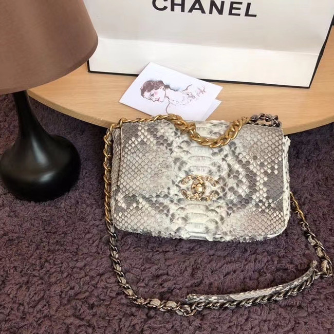 CHANEL 19 Flap Bag Original Snake skin flap bag AS1160 grey