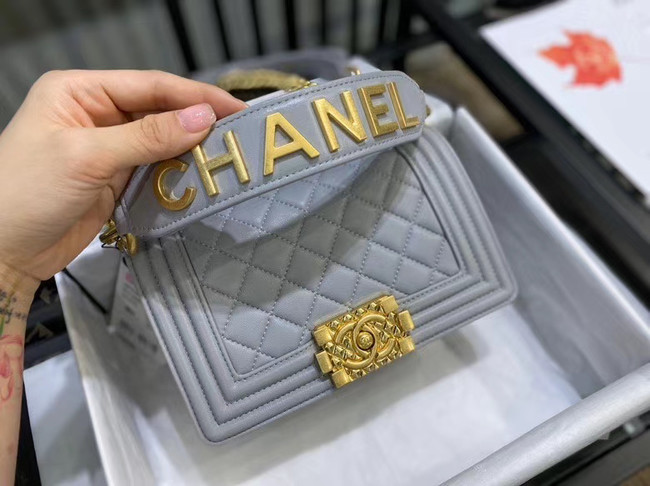 Small boy chanel handbag AS67085 grey