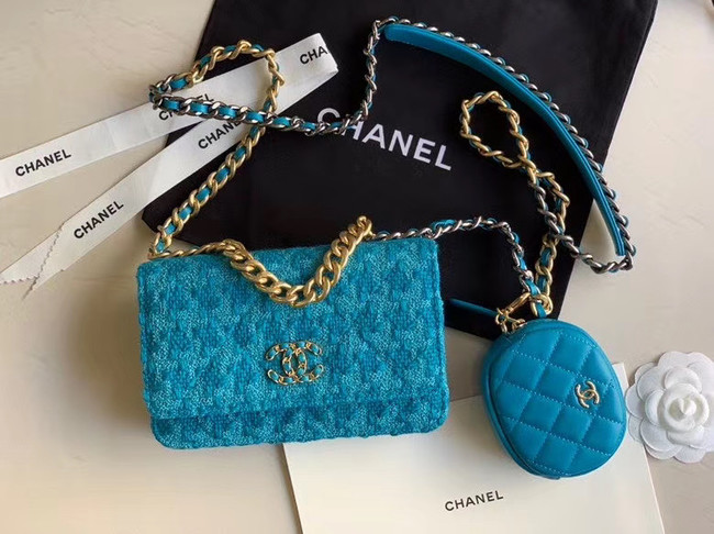 CHANEL 19 Flap Bag WOC 33817 blue