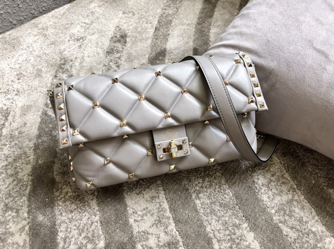 VALENTINO VLOCK Origianl leather shoulder bag 0053 grey