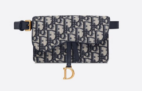 SADDLE BELT POUCH Blue Dior Oblique Jacquard S5619C