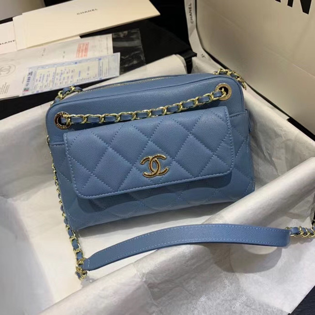 CHANEL Small camera bag Grained Calfskin & Gold-Tone Metal AS1367 blue