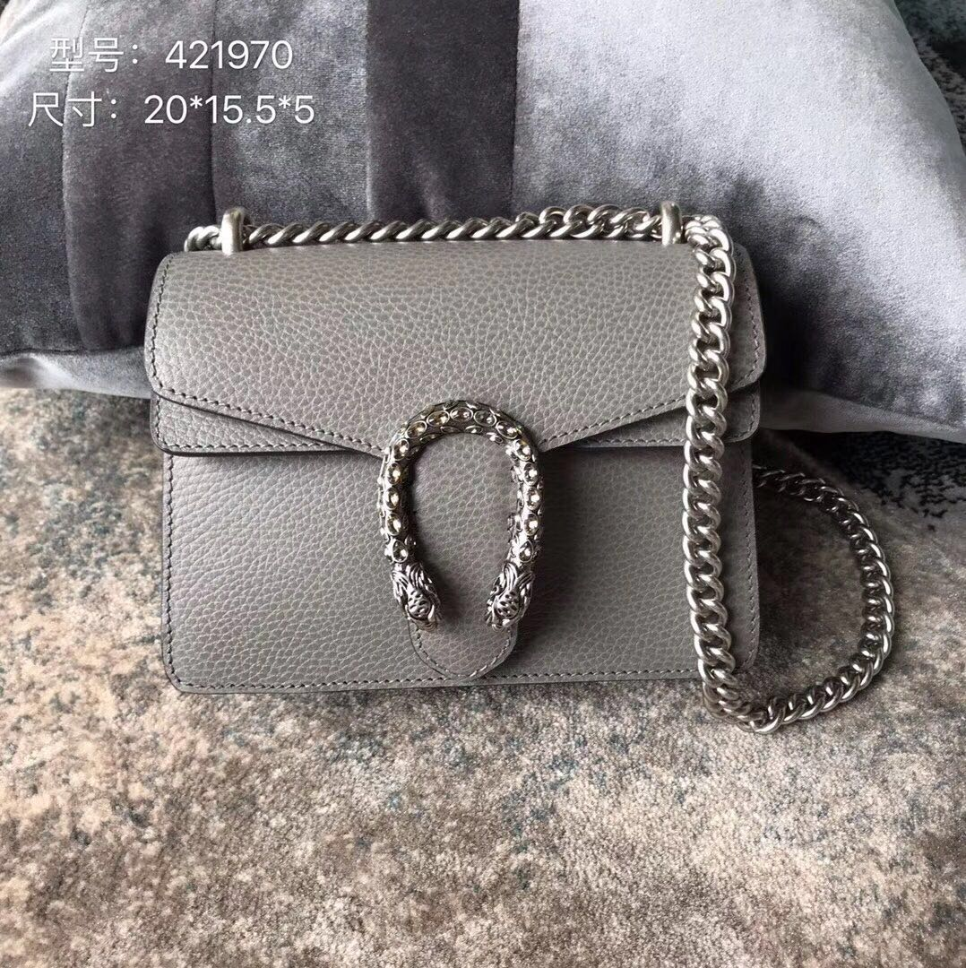 Gucci Dionysus Lichee Pattern Mini Shoulder Bag 421970 grey