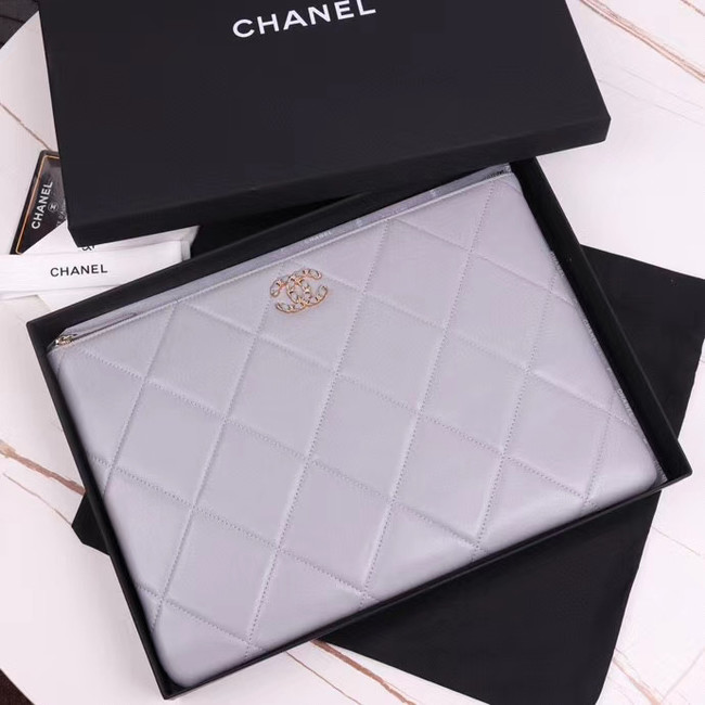 CHANEL 19 Sheepskin Original Leather Carry on bag AP0952 grey