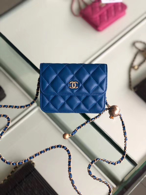 Chanel Sheepskin Original Leather Pocket AP0146 blue
