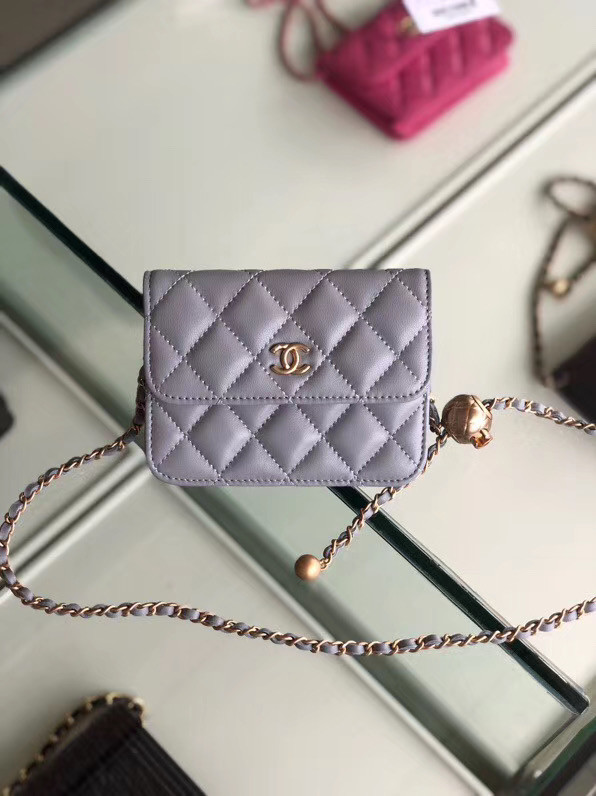 Chanel Sheepskin Original Leather Pocket P0146 grey