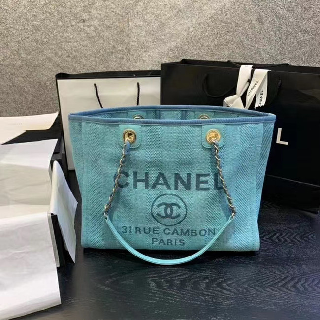 Chanel Large Shoulder Bag A67001 sky blue