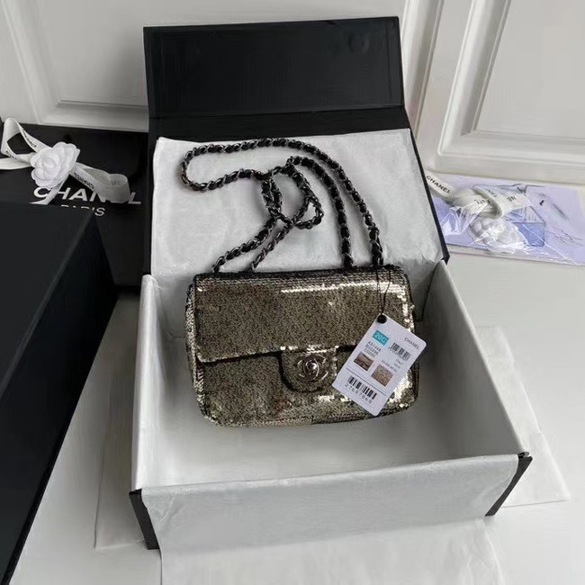 Chanel Original flap bag Sequins&sheepskin AS1448 grey