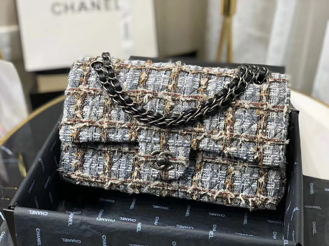 Chanel Original flap bag Twill soft A01112 grey