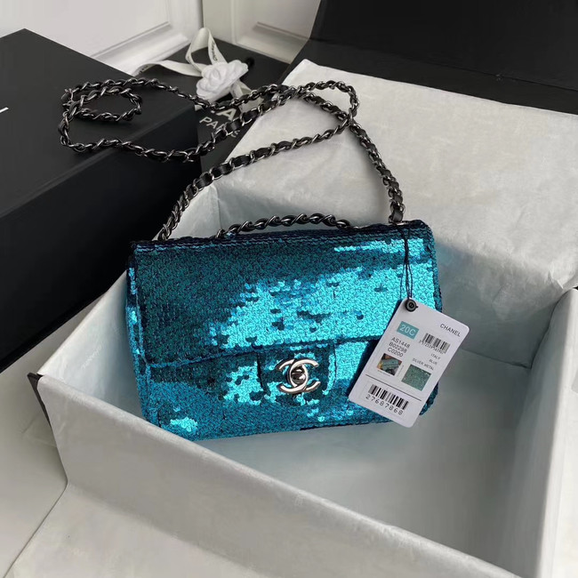Chanel Original flap bag Sequins&sheepskin AS1448 blue