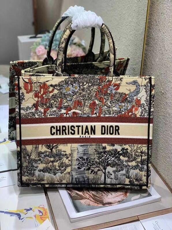 DIOR BOOK TOTE EMBROIDERED CANVAS BAG C1287-10