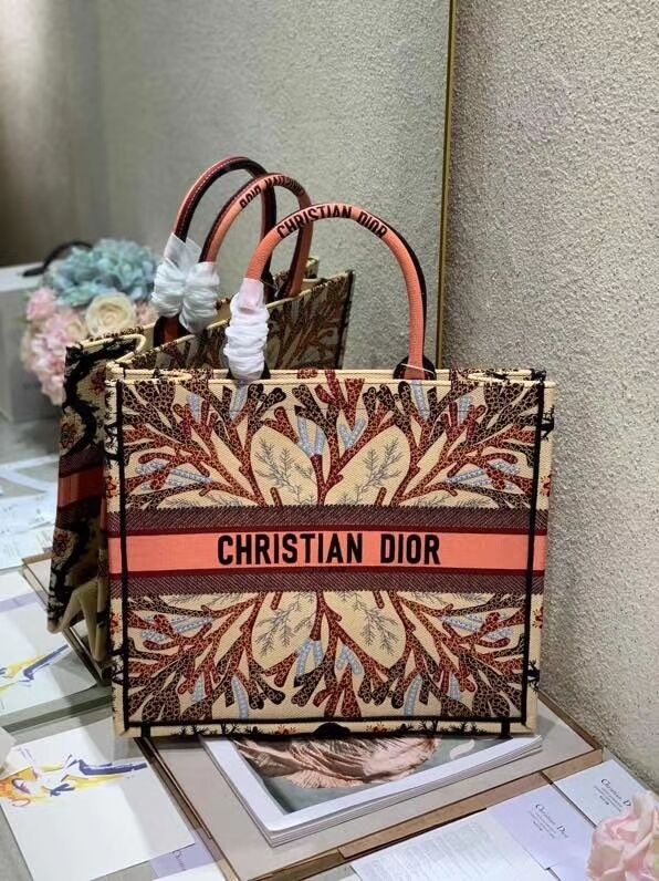 DIOR BOOK TOTE EMBROIDERED CANVAS BAG C1287-11