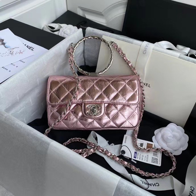 Chanel Flap Original Lambskin Leather Shoulder Bag AS1665 silver pink
