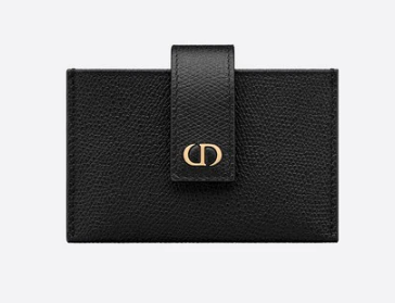 DIOR 30 MONTAIGNE 5-GUSSET CARD HOLDER Grained Calfskin S2058 Black