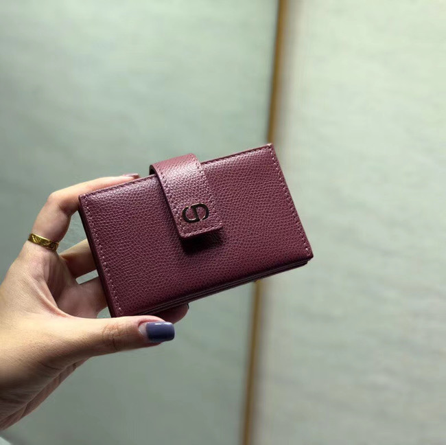 DIOR 30 MONTAIGNE 5-GUSSET CARD HOLDER Grained Calfskin S2058 fuchsia