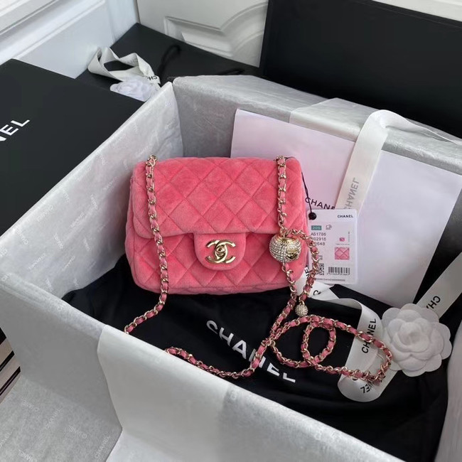 Chanel Original Small velvet flap bag AS1115 rose