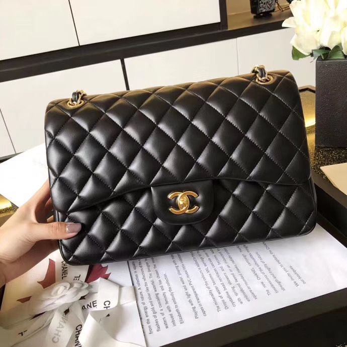 Chanel Jumbo Double Flaps Bags Black Original Sheepskin Leather A36097 Gold