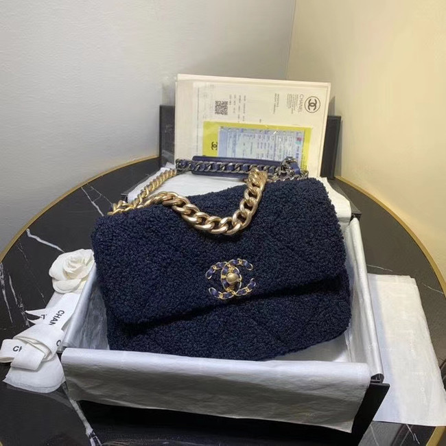 Chanel 19 wool flap bag AS1160 Royal Blue