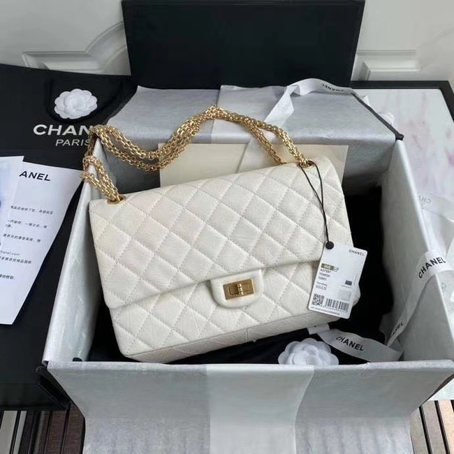 Chanel 2.55 Calfskin Flap Bag A37587 white