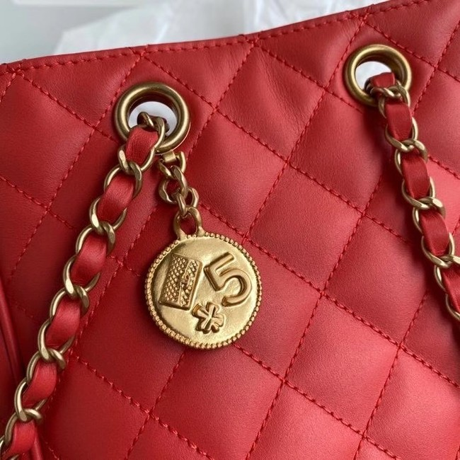 Chanel Original Lather Shopping bag AS1844 red