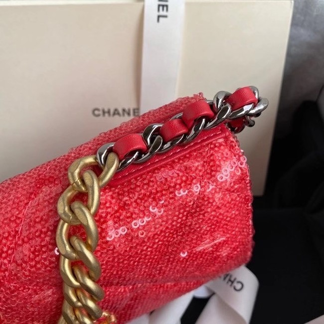 Chanel 19 Chain Wallet WOC AP0957 red