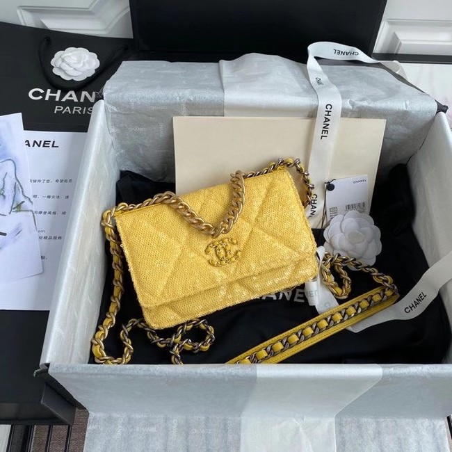 Chanel 19 Chain Wallet WOC AP0957 yellow
