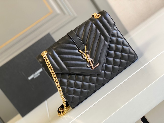 Yves Saint Laurent Calfskin Leather 487206 black&gold
