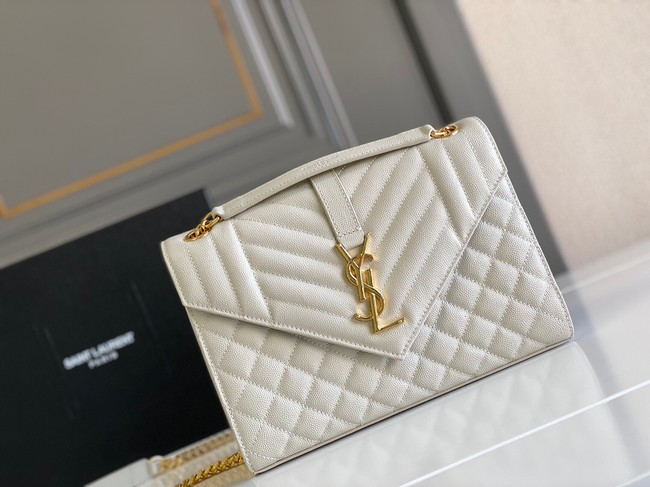 Yves Saint Laurent Calfskin Leather 487206 white&gold