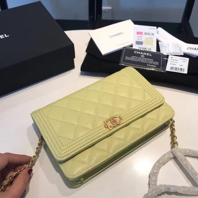 BOY CHANEL Original Wallet on Chain A80287 lemon