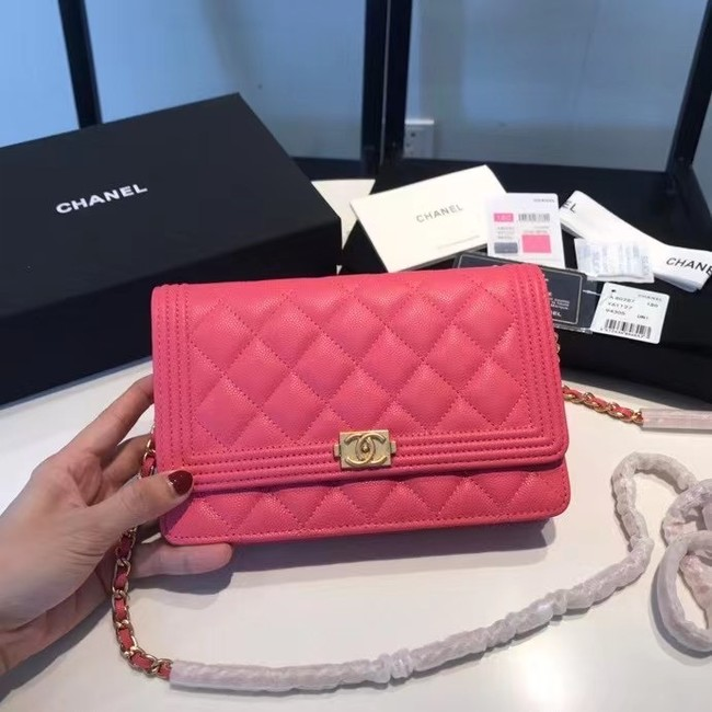BOY CHANEL Original Wallet on Chain A80287 rose
