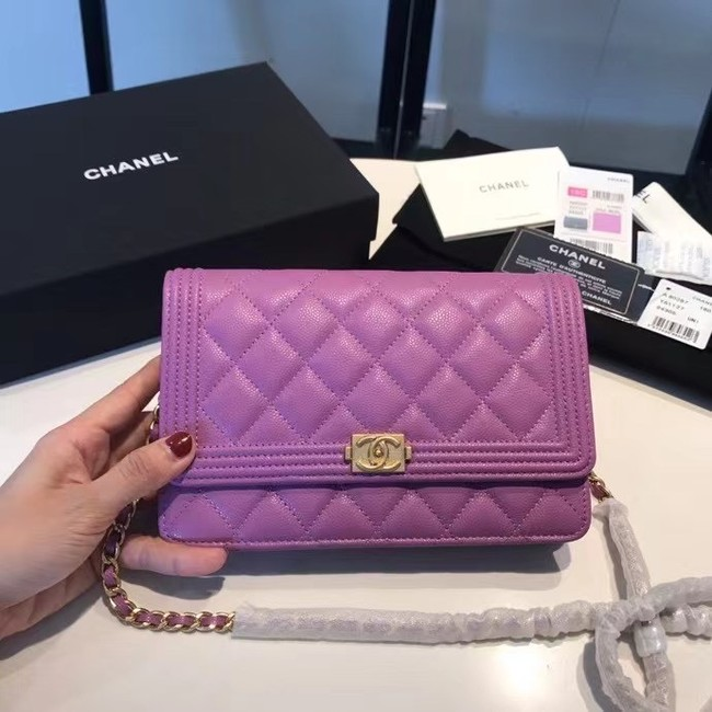 BOY CHANEL Original Wallet on Chain A80287 violet