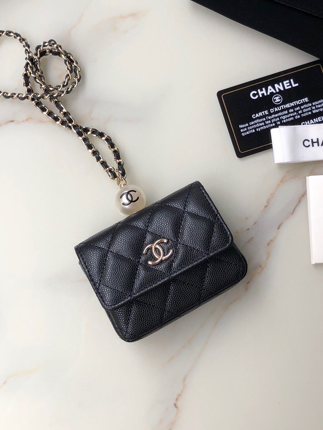 Chanel flap coin purse with chain AP2119 black