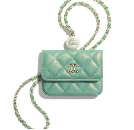 Chanel flap coin purse with chain AP2119 green