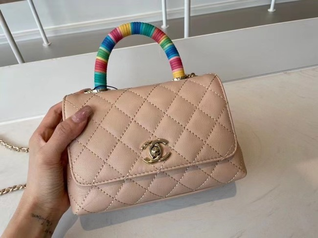 chanel mini flap bag with top handle AS2215 Apricot