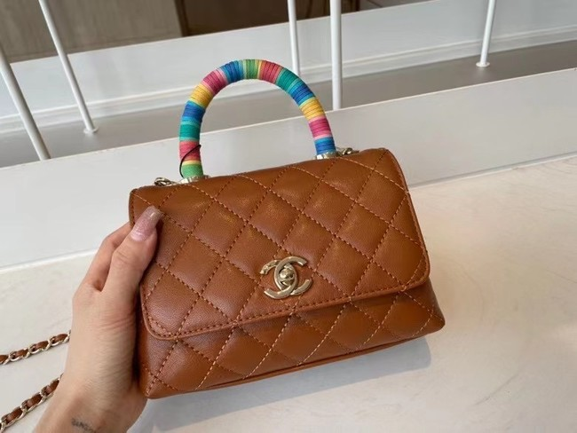 chanel mini flap bag with top handle AS2215 brown