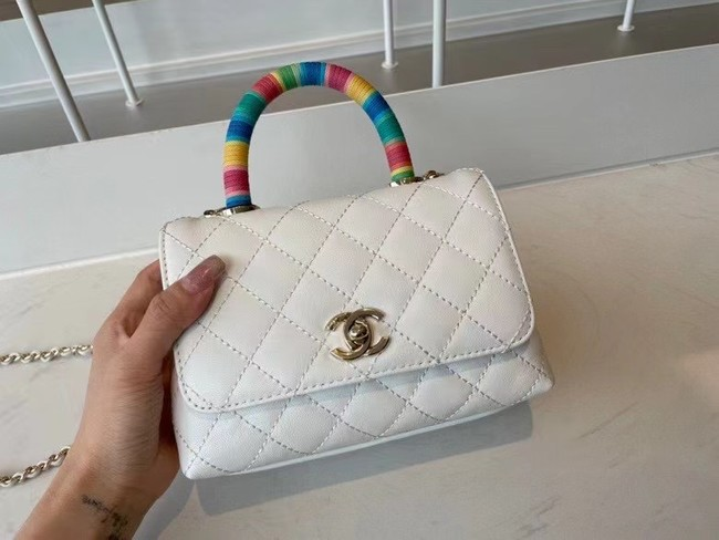 chanel mini flap bag with top handle AS2215 white